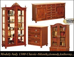 Modely řady 1300 CLASSIC Skleníky, komody, knihovny, příborníky, skříňky