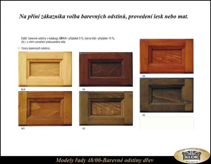 Levný stylový nábytek z masivu 48-00 Odstíny dřev